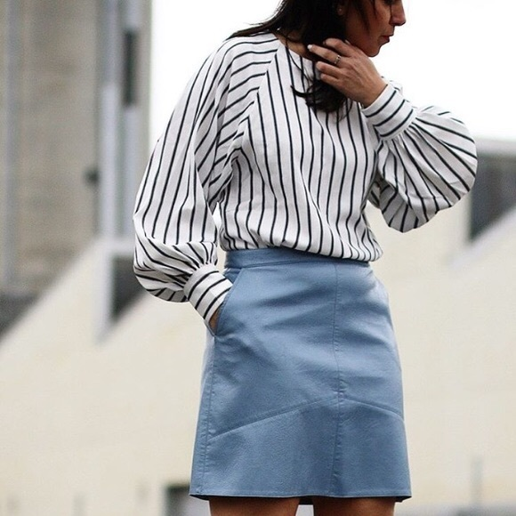 d9d32afb83 Zara Skirts | Blue Leather Skirt | Poshmark